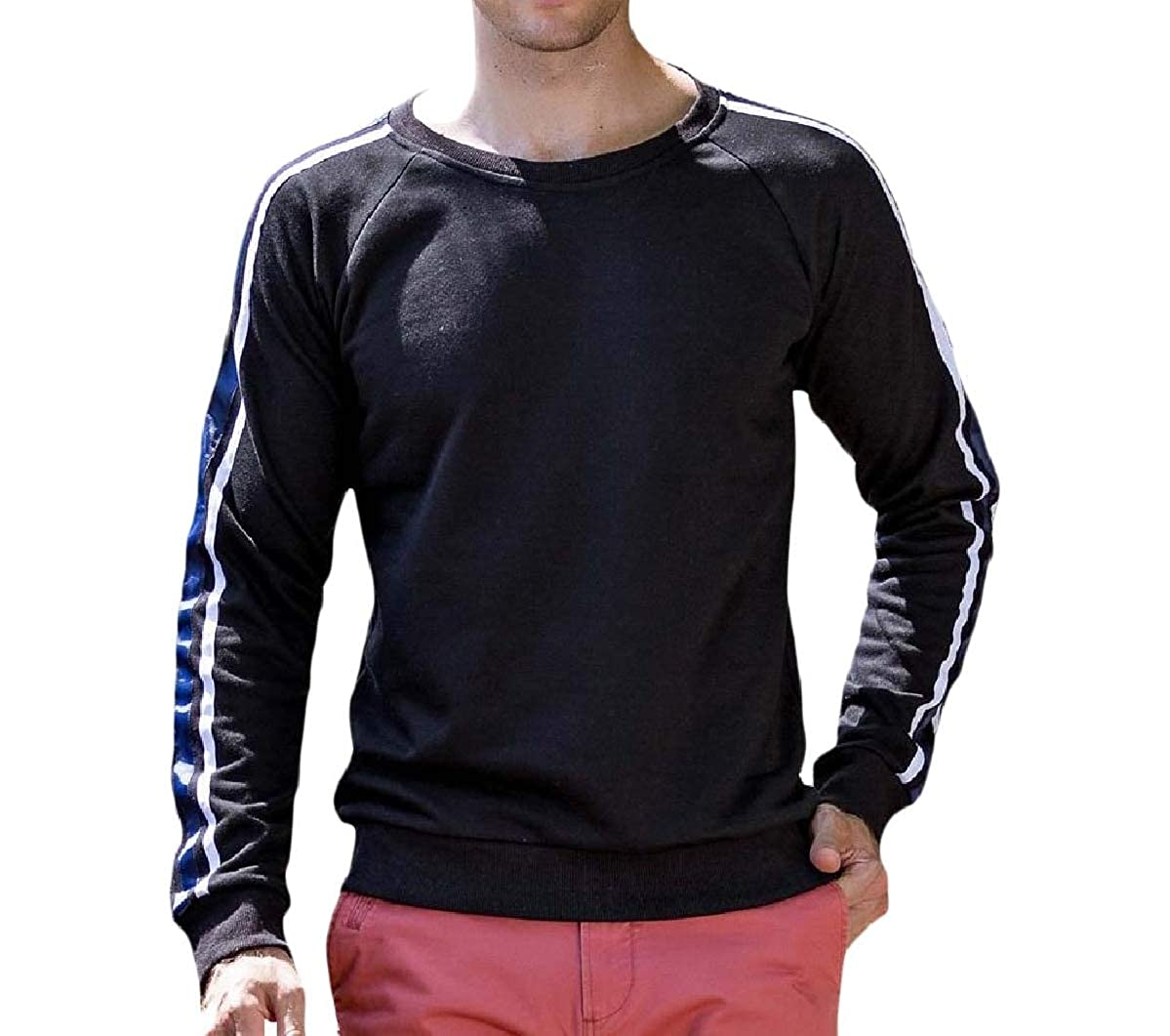 Mfasica Mens Fall Winter O-Neck Cotton Classic Athletic Pullover Outwear