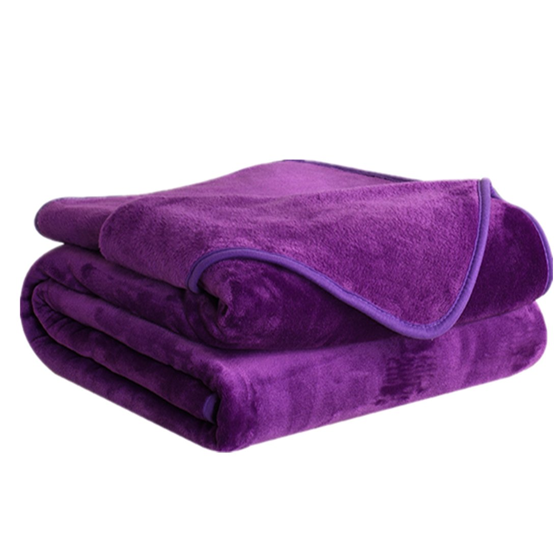 DREAMFLYLIFE Fleece Blanket 380 GSM Anti-Static Super Soft Lightweight Summer Cooling Warm Fuzzy Bed Blanket Couch Blanket (King, Purple)