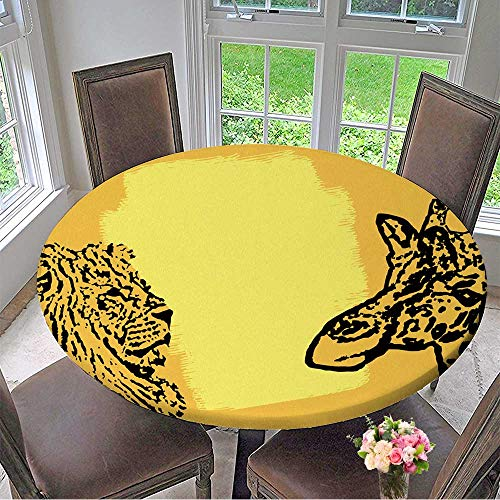 Mikihome Round Fitted Tablecloth Abstract Background with Lion and Giraffe Stamp with Space for Text,Vector for All Occasions 35.5