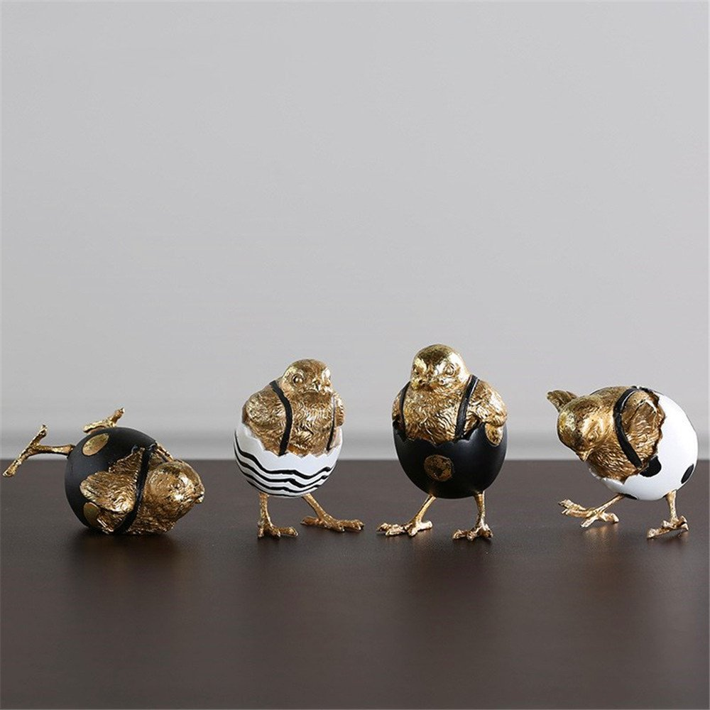 Lucky House Hand-Painted Shell Chicken Creative Chicken Hatching Resin Craft Gift Gold