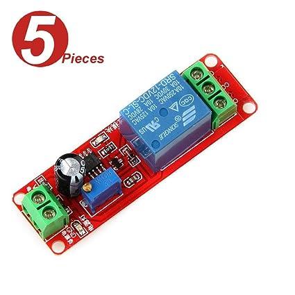 WINGONEER® 5Pcs NE555 12V DC Adjustable 0-10 Second Timer Delay Relay  Switch Module Shield for Arduino Raspberry Pi