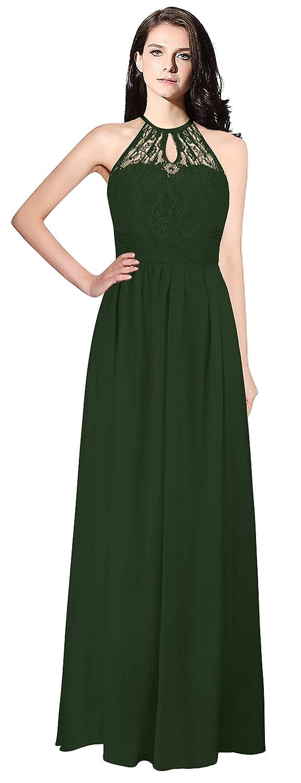 Dark Green MaliaDress Womens Backless Long Halter Bridesmaid Dress Prom Gown M266LF