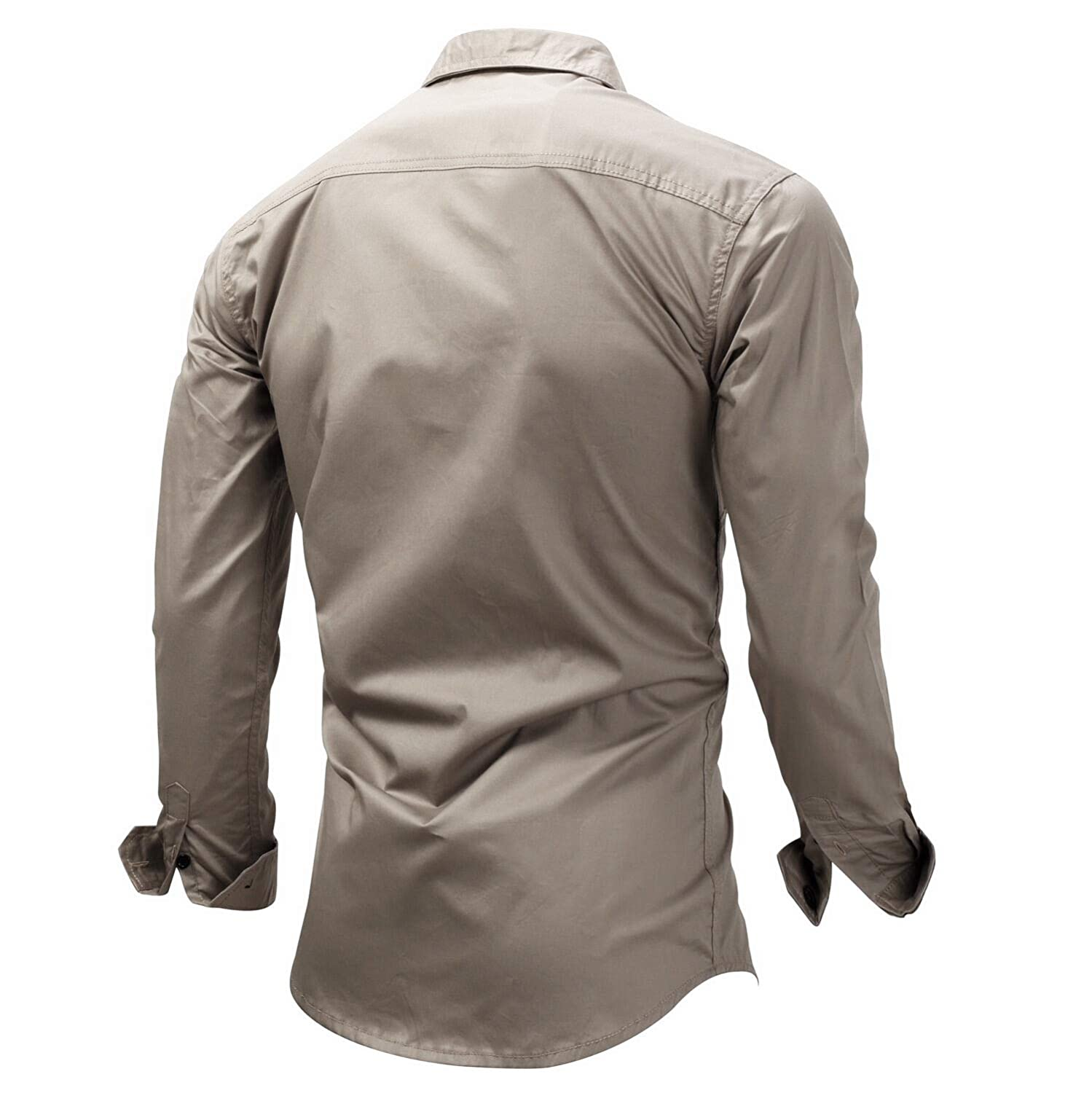 Winwinus Mens Plus-Size Cotton Turn Down Collar Long Sleeves Outdoor Zip Casual Shirt