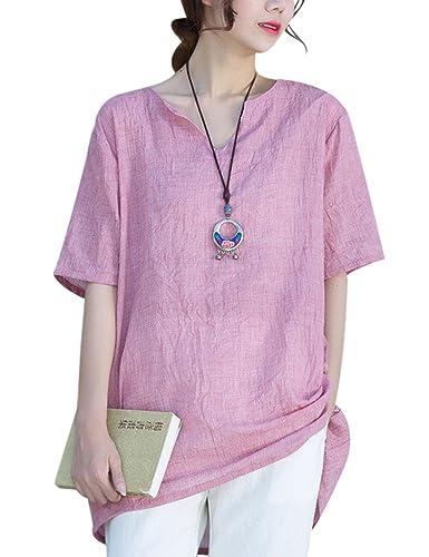 Youlee Mujeres Verano Cuello en V Algodón Camiseta