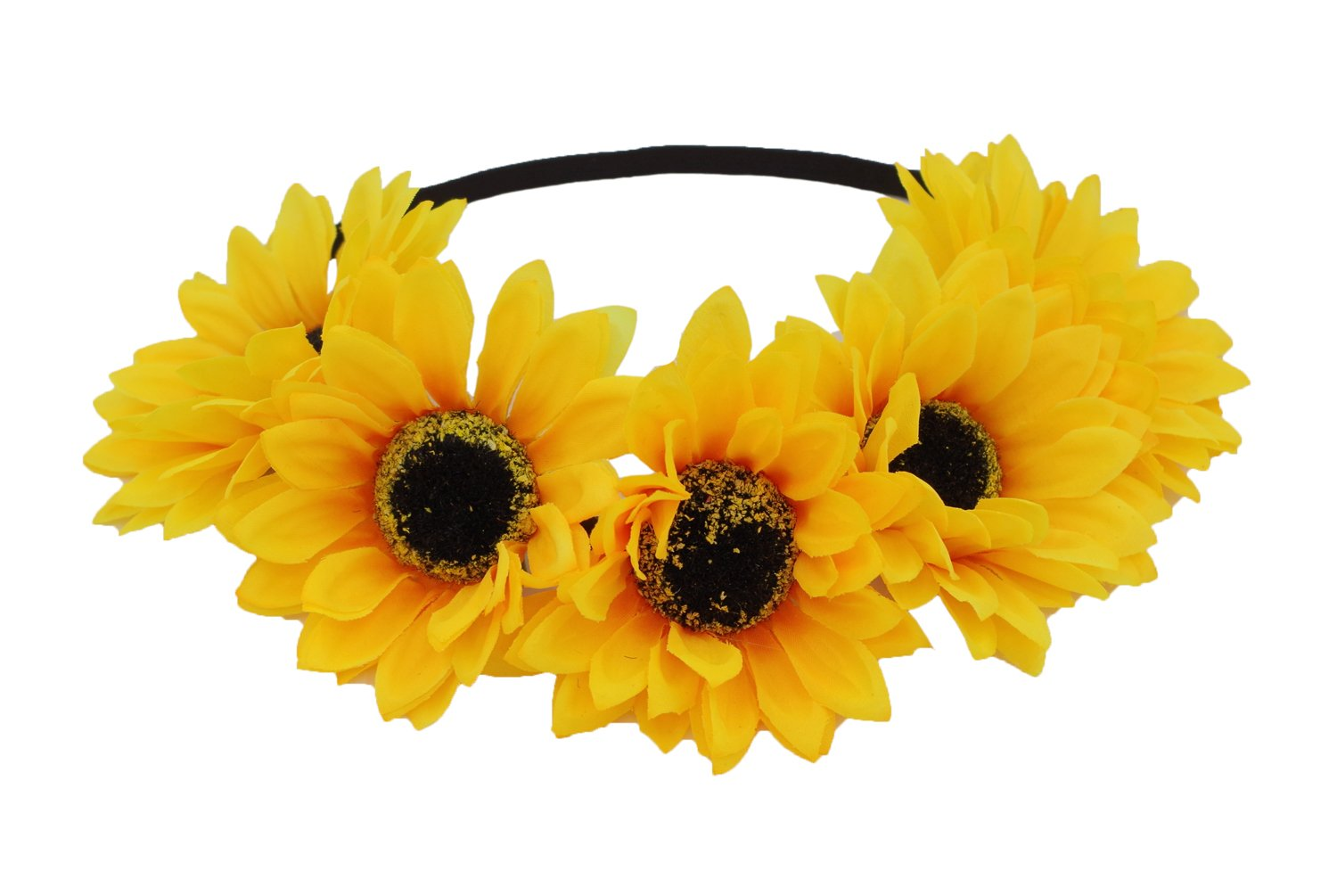 Floral Fall Sunflower Crown Hair Wreath Bridal Headpiece Festivals Hair Band (2#-Elastic Yellow Headbands) by Floral Fall