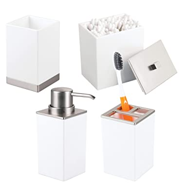mDesign Bath Accessory Set Vanity Countertops, Cabinets - Set of 4, White/Brushed