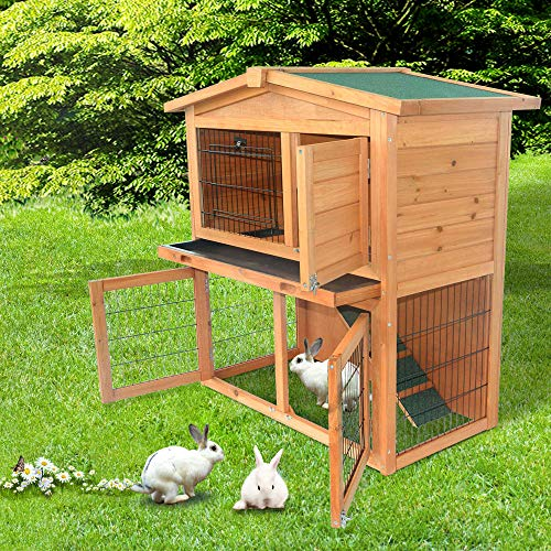 Decdeal 40″ Triangle Roof Waterproof Wooden Rabbit Hutch A-Frame Pet Cage Wood Small House Chicken Coop Natu