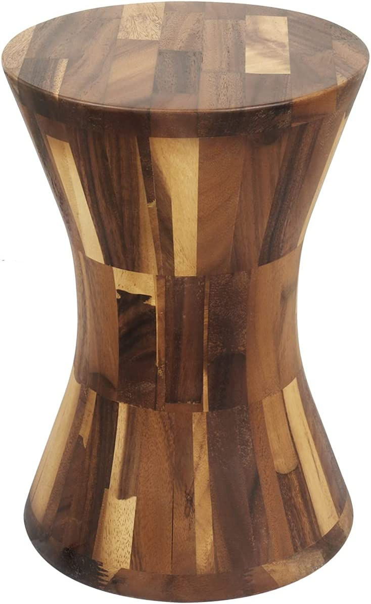 simesove Wood Garden Stool Solid Walnut Side Tables Living Room,Home Decorative Indoor Wooden Stool,Small Plant Stand