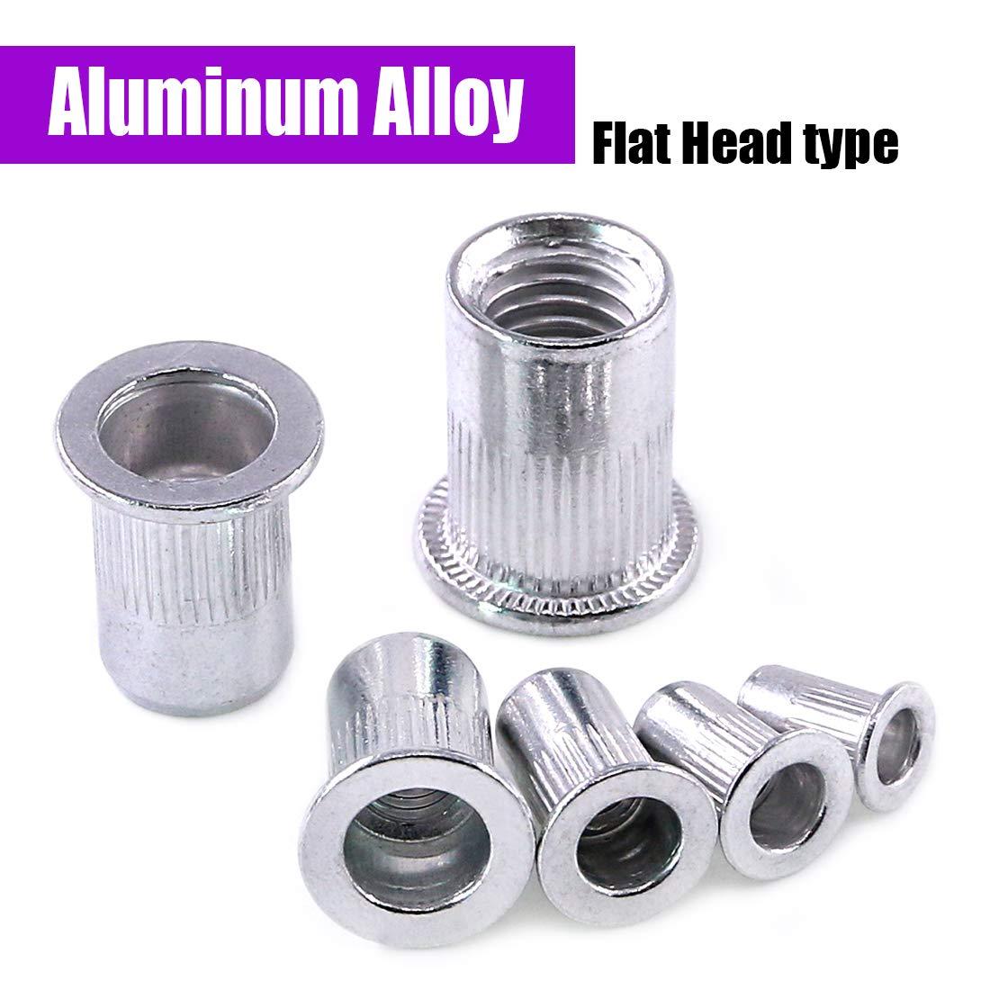 Swpeet 110Pcs Aluminum Alloy Flat Head Rivet Nut Kit, Including Assorted M3 M4 M5 M6 M8 M10 Aluminum Treaded Insert Nutsert Perfect for Providing High Strength Load Bearing Threads by Swpeet (Image #3)