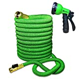 Expandable and Flexible Water Hose for Garden - 100 Feet with Solid Brass Fittings & Strongest Triple Core Latex, 8 Pattern Spray Nozzle 3/4 US Standard. Easy to Storage Kink Free Compact and Durable