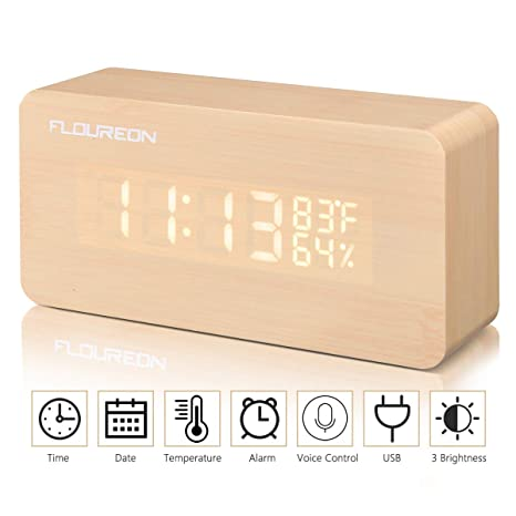 FLOUREON Reloj Despertador Digital con Cable USB -Mesa Reloj Calendario/Tiempo/Temperatura/