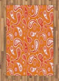 Burnt Orange Area Rug by Lunarable, Islamic Paisley Ethnic Unusual Motifs Eastern Oriental Style Patterns Print, Flat Woven Accent Rug for Living Room Bedroom Dining Room, 4 x 6 FT, Orange White