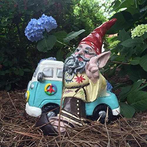 Homestyles Born to Ride 35328 Hippie Dude Jerry Gnome on VW Bus 12″ H Garden Statue and Vehicle Figure