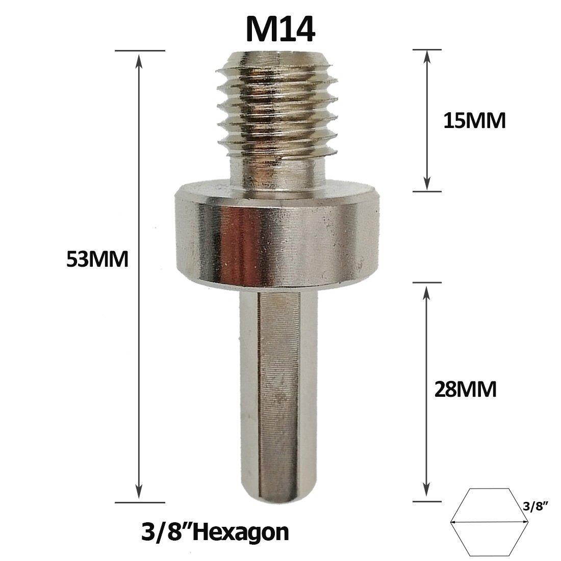 DIATOOL Convertisseur de connecteur d/'adaptateur pour embouts de foret /à filetage m/âle M14 /à queue hexagonale