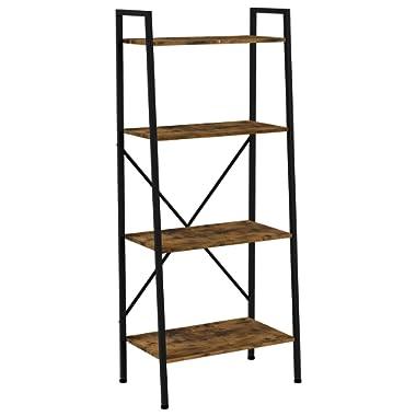 IRONCK Bookshelf, 4-Tier Ladder Shelf, Storage Shelves Rack Shelf Unit, Wood Look Accent Furniture Metal Frame, Vintage Home Office Furniture for Bathroom, Living Room, Rustic Brown