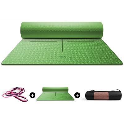 HUO Tapis De Yoga De Débutant Épais, Certifié De GV, Pilates De Forme Physique De Non-glissement, Avec La Courroie De Transport, Larme Résistante 183 * 80 * 0.8cm
