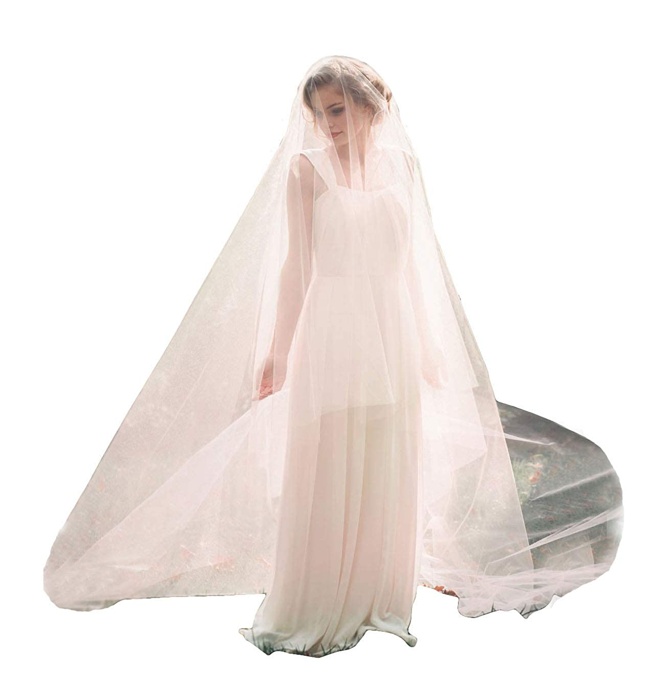 Fenghuavip Blusher Cathedral Wedding Veil 2 Tier Circle Cut Edge Drop Veil with Comb