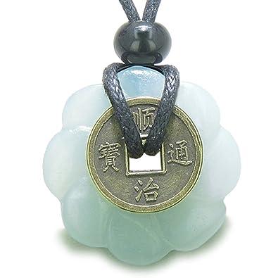 Lucky Coin Celtic Lotus Flower Gemstone Amulet Amazonite 30mm Donut Pendant Necklace