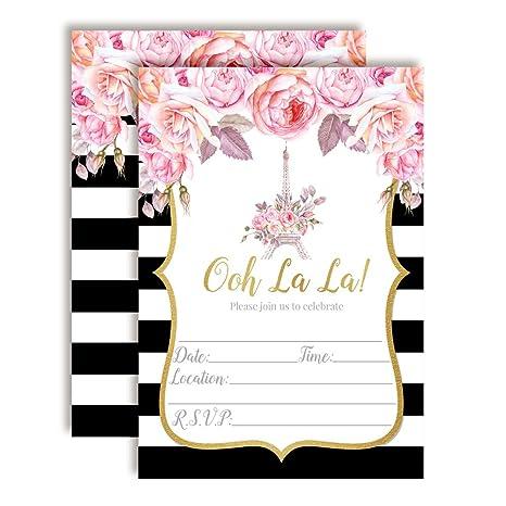 f8f701ef55fd Amazon.com  Watercolor Floral Paris Party Invitations for Birthdays ...