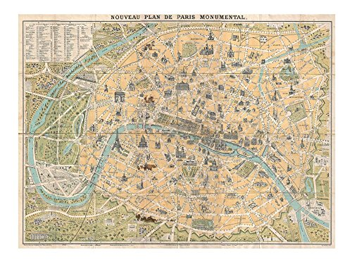 1890 Guilmin Map of Paris, France with Monuments Art Print, 27 x 20 inches