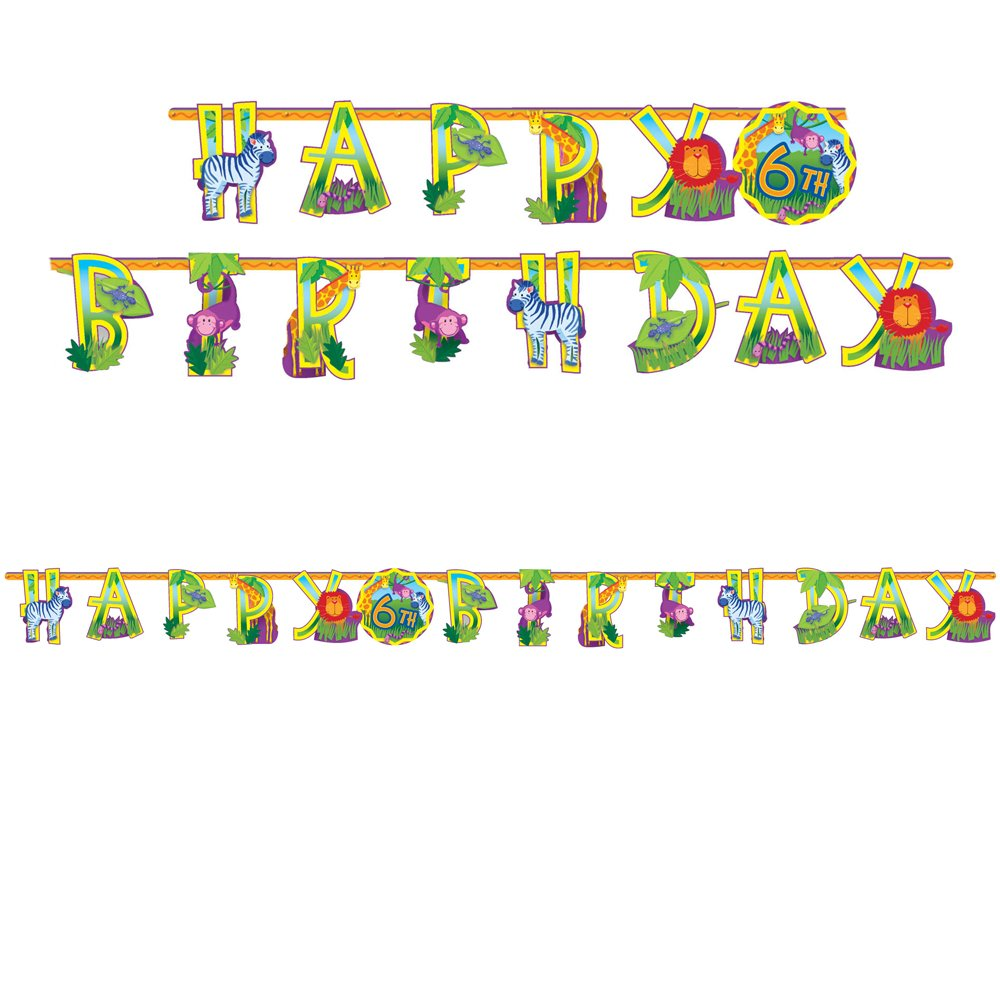 Amscan Wild Jungle Animals Themed Party Jumbo Add-An-Age Letter Birthday Banner (30 Piece), Multicolor, 10 1/2' X 10''