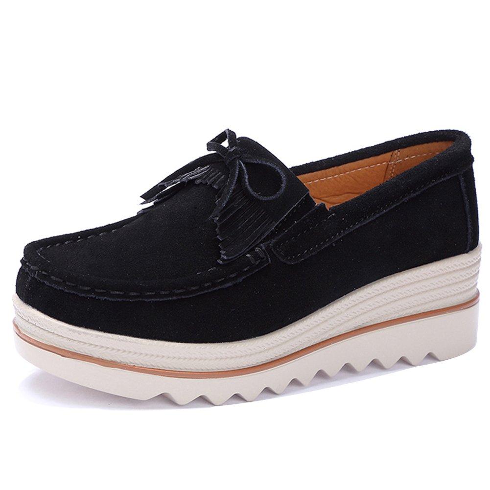 STQ-2017heise35 Women Platform Sneakers Wedges Shoes Comfort Summer Slip On Suede Moccasins Fringe Tassel Work Wedge Loafers Black 5.5 B(M) US