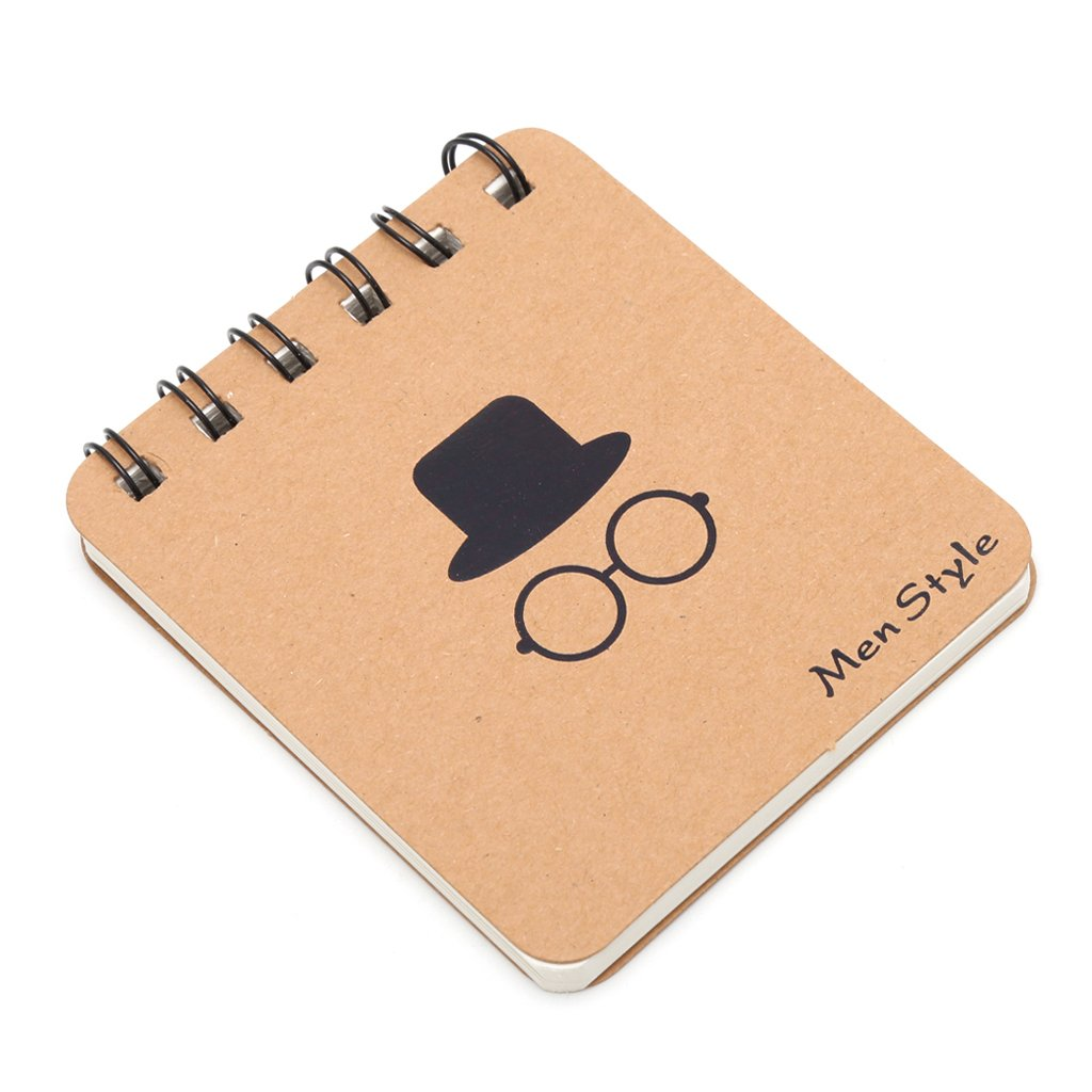 JUNESUN Cute Kraft Paper Spiral Coil Note Book Journal Diary Memo Blank Page Stationery
