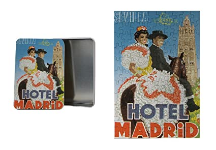 Sevilla Hotel Madrid antiguo viaje Póster de Metal caja de lata, & Puzzle Set