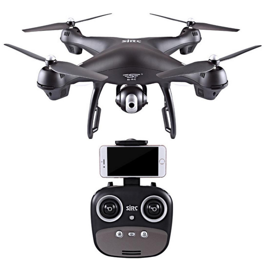 Boyiya GPS FPV RC Drone S70W with Camera Live Video with Adjustable Wide-Angle1080P HD WIFI Camera- Follow Me, Altitude Hold, Headless Mode Function RTF (Black)