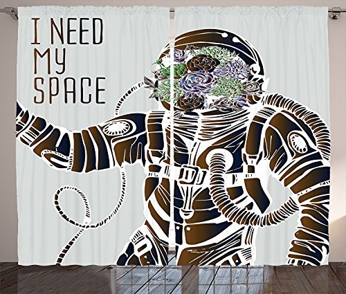 Outer Space Decor Curtains Funny Love Quote with a Floral Head Cosmonaut Pilot Man Humor Illustration Living Room Bedroom Window Drapes 2 Panel Set - Pilot The Drop Band