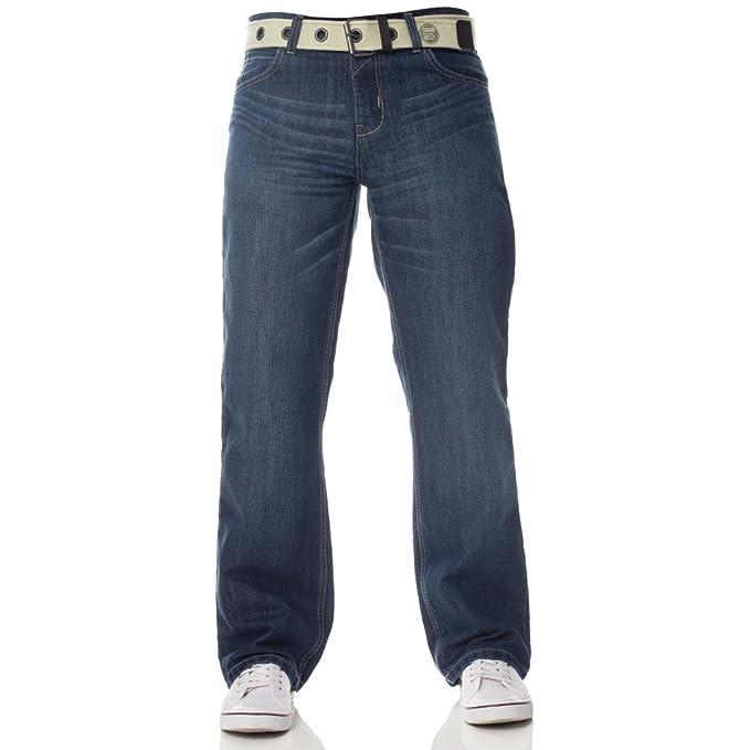 e21da2bb27 NUOVO ENZO da uomo vestibilità larga DENIM JEANS BLU CINTURA GRATIS:  Amazon.it: Abbigliamento