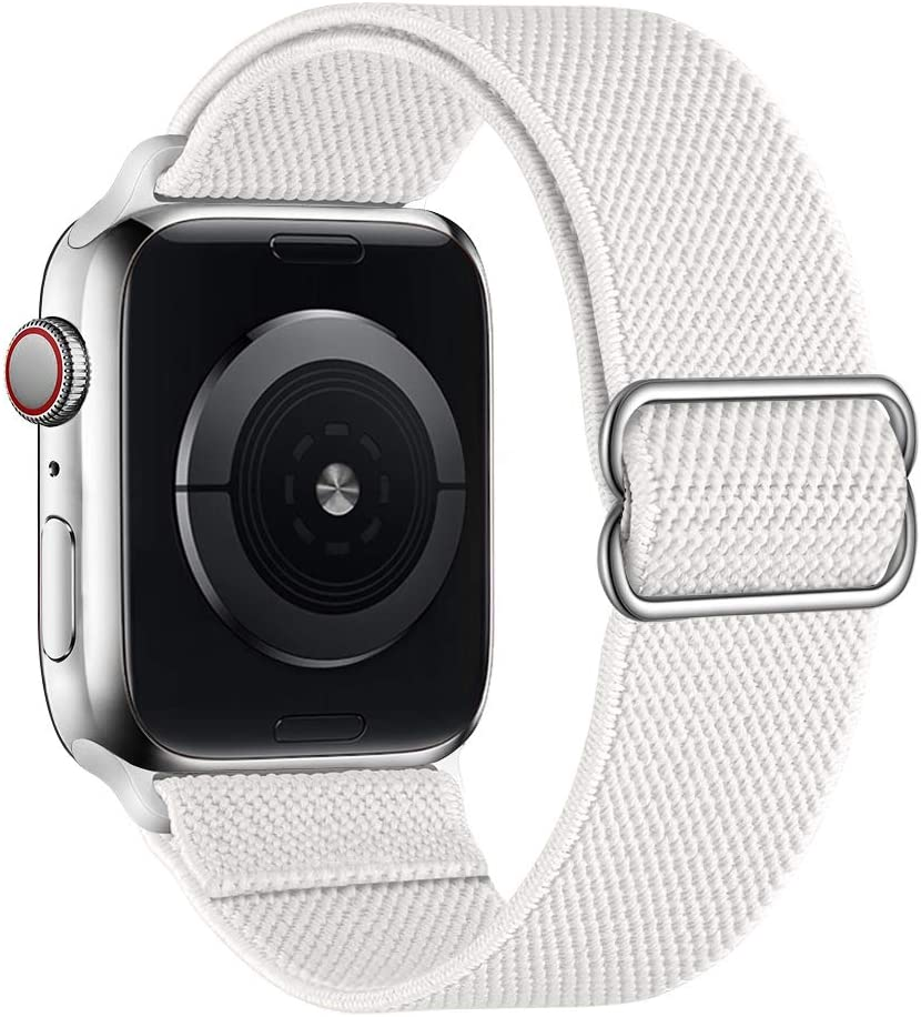 SIRUIBO Stretchy Nylon Solo Loop Bands Compatible with Apple Watch 42mm 44mm, Adjustable Stretch Braided Sport Elastics Women Men Strap Compatible with iWatch Series 6/5/4/3/2/1 SE, White
