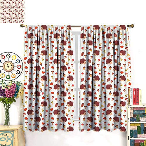 Finial Acorn Classic (Anniutwo Mushroom Blackout Curtain Cute Autumn Inspired Pattern with Natural Elements Hedgehogs Acorns and Apples Room Darkening Curtains Multicolor W84 x L84 inch)