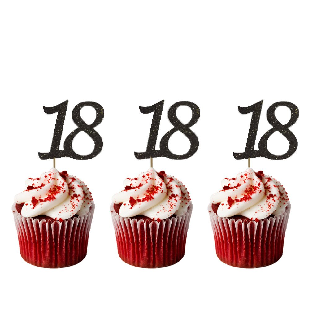 Astounding Lissielou Number 18 Cupcake Toppers Pack Of 10 18Th Birthday Funny Birthday Cards Online Inifodamsfinfo