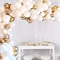 JOYYPOP 110 Pcs White And Gold Balloons Arch White Balloons Gold Confetti Balloons Metallic Balloons Decorations Set…