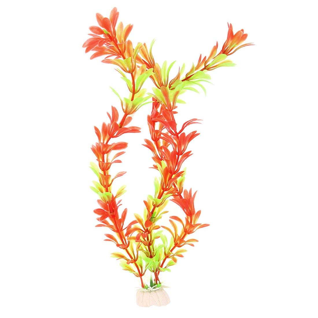Ceramic Base Plastic Aquarium Ornament Emulational Plant 2 Pcs Green orange