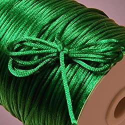 Ben Collection 2mm X 100 Yard Rattail Satin Nylon Trim Cord Chinese Knot (Emerald)