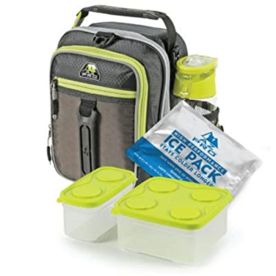 Arctic Zone High-Performance Dual-Compartment Lunch Box Set, Black/Lime : Garden & Outdoor