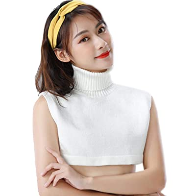 HCY 1Pcs Soft Knit Turtleneck Fake Collar Detachable Solid Color False Collar for Women Girls White at Women's Clothing store