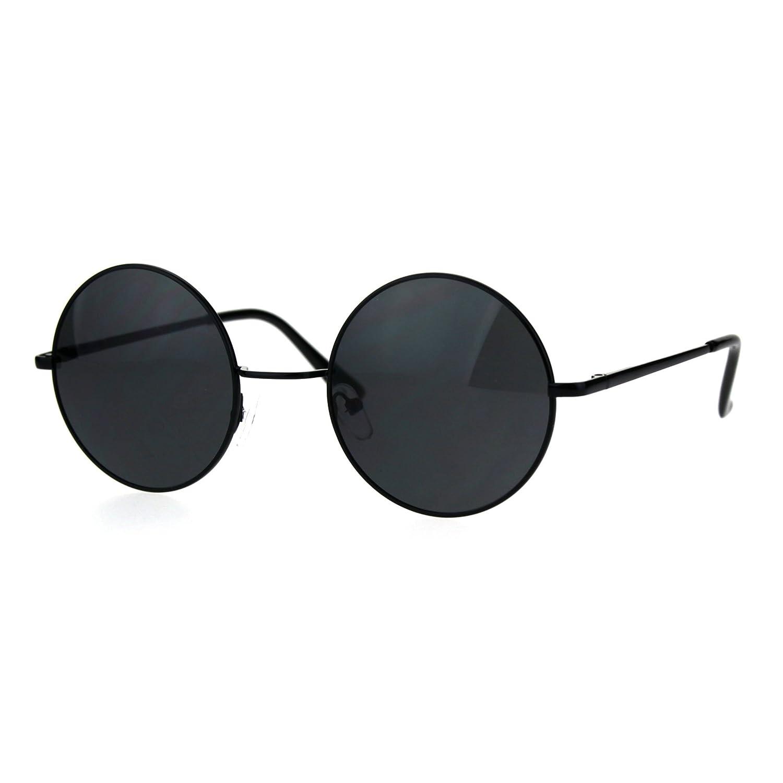 ba334503a82c4 Amazon.com  Reflective Color Mirrored Hippie Groove Round Circle Lens Retro  Sunglasses (All Black