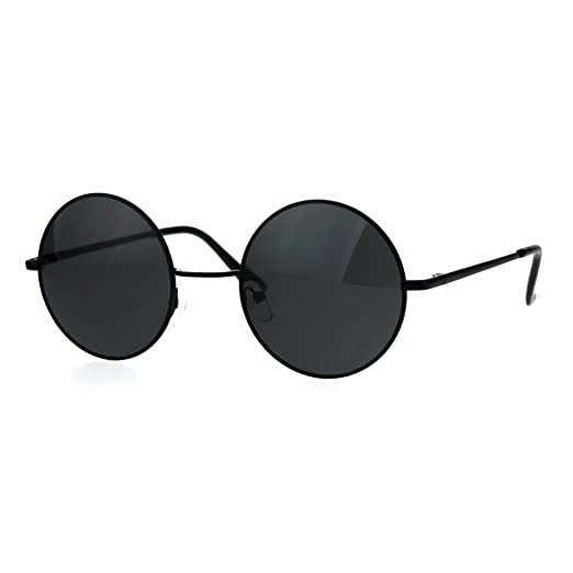 f53da660e96 Reflective Color Mirrored Hippie Groove Round Circle Lens Retro Sunglasses (All  Black