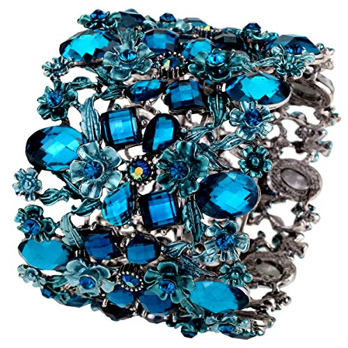 Szxc Women's Flower Stretch Cuff Bracelets - Flexible Band Fit Wrist Size Less Than 8