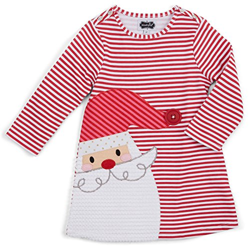 Mud Pie Baby Girls' Holiday Dress, Red Santa, 9-12 (Baby Girls Santa Dress)