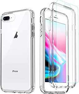 Misscase iPhone 8 Plus Case,iPhone 7 Plus Clear Case,[Tempered Glass Screen Protector] Full Body Protective Shockproof Hard Plastic & Soft TPU Case for iPhone 8/7/6 Plus (5.5 inch) Clear