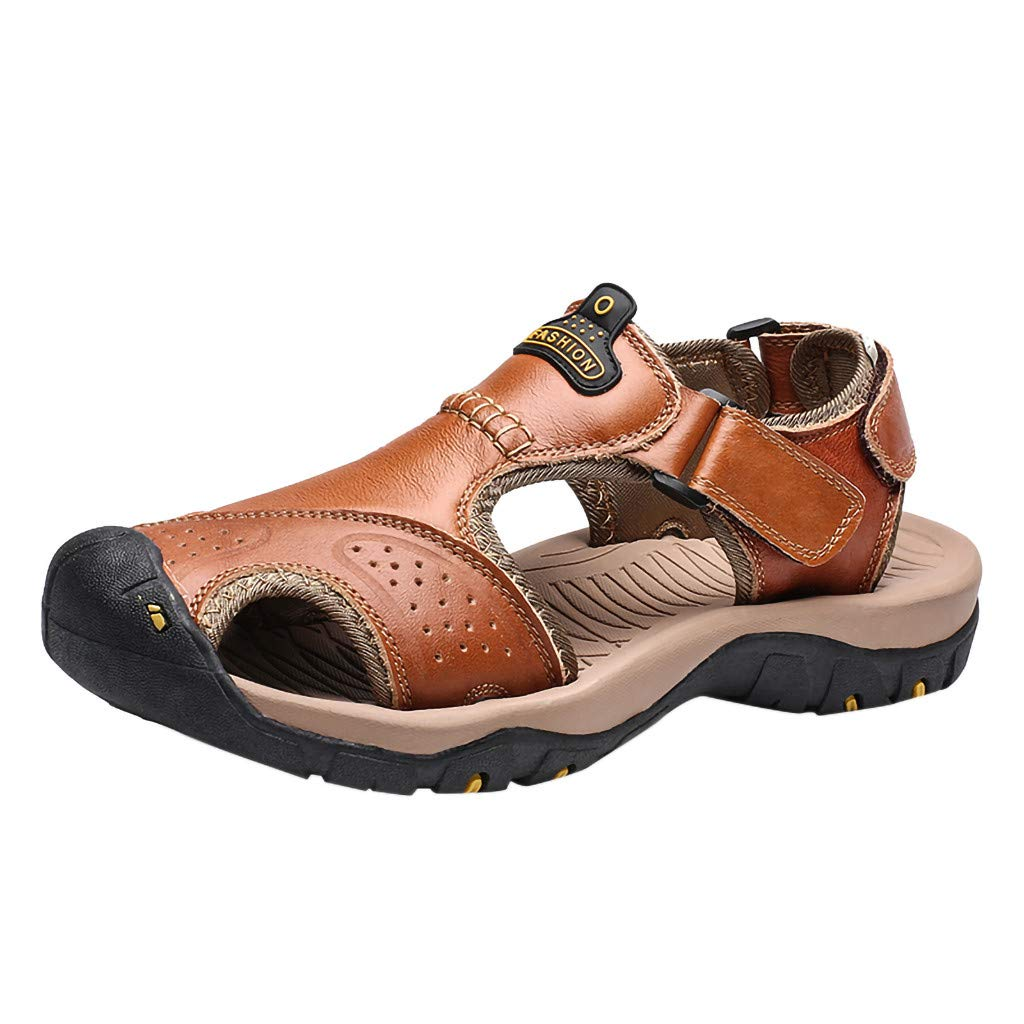 Respctful✿Men Sandals Leather Fashion Fisherman Beach Shoes Summer Slip On Sandal Walking Adustable Strap Water Shoes