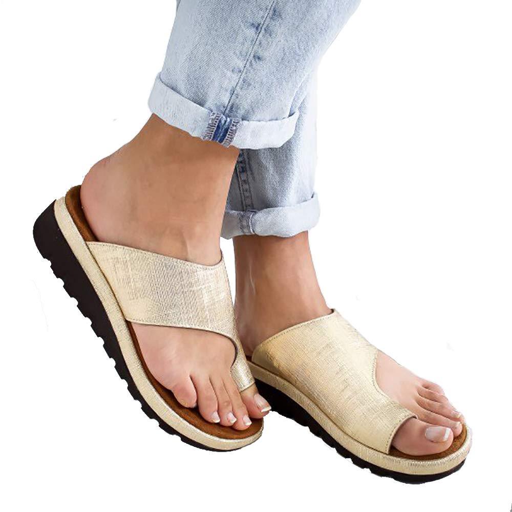 Chaussures de Sandale Femmes Plate-Forme Soutien dhallux Valgus de Gros Orteil pour Traitement Chaussures en Cuir PU Correcteur Plage Respirante Peep Toe Sandales /ét/é Occasionnelles