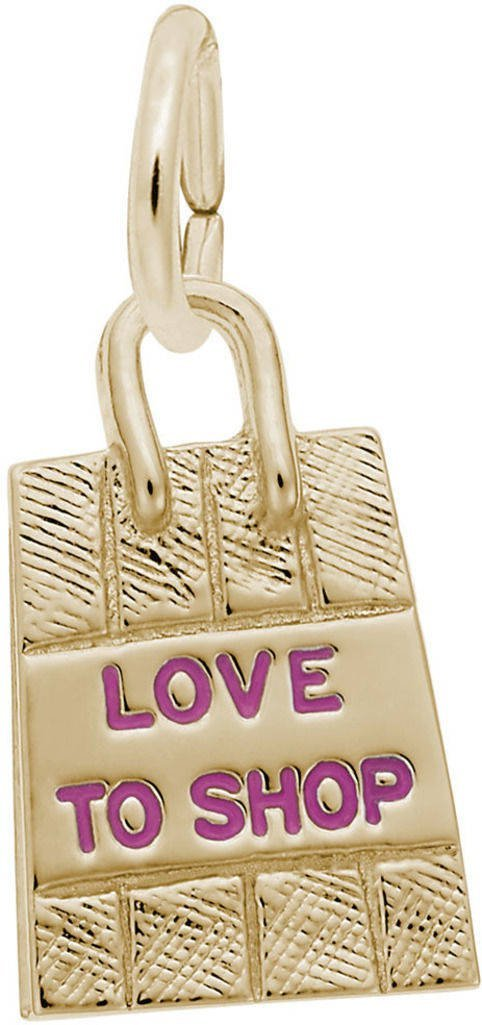 Rembrandt Shopping Bag w/ Pink Enamel Love to Shop Charm - Metal - 14K Yellow Gold