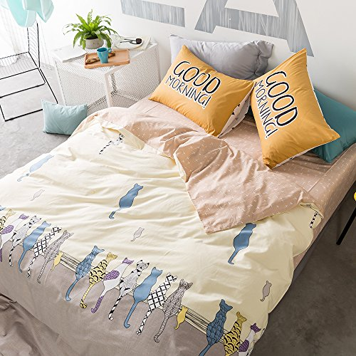 HIGHBUY Cat Print Kids Duvet Cover Twin Cotton 3 Piece Reversible Cross Pattern Hypoallergenic Soft Cotton Bedding Sets for Teens Boys Girls Hidden Zipper Closure,Style2 (Cat Cross)