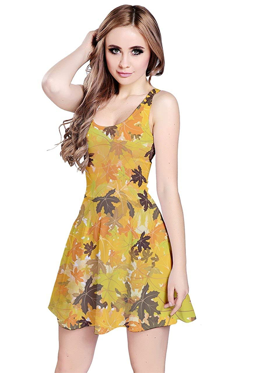 Yellow Leaves 2 CowCow Womens Thanksgiving Autumn Woodland Animals Leaves Owls Sleeveless Dress, XS5XL