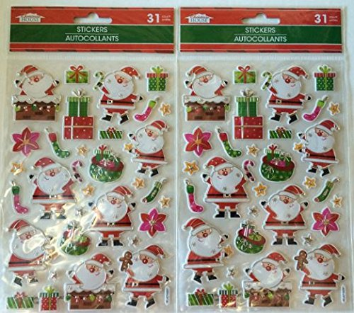 2 Pack Christmas House Colorful Dimensional Santa Stockings Presents Embellishment Scrapbook Stickers 31 ()